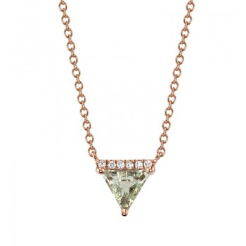 MARS Pendant Necklace, 0.03 Dia, 0.55 Green Am.