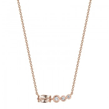 MARS Pendant Necklace, 0.08 Dia, 0.73 Morganite
