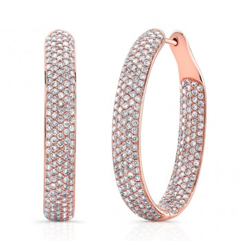 18k Micropavé Diamond Hoop Earrings