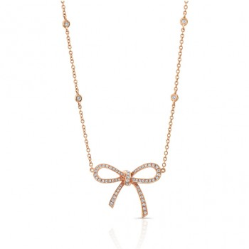 18K Diamond Bow Necklace