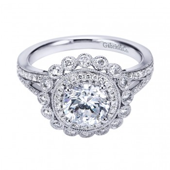 Gabriel Co 14K White Gold Victorian Halo Engagement Ring