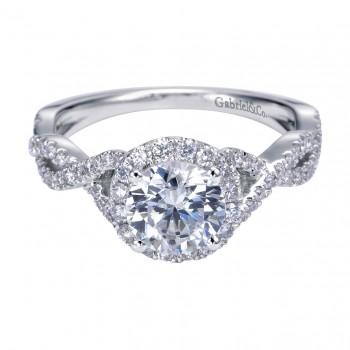 Gabriel Co 14K White Gold Twist Halo Engagement Ring