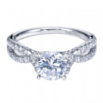 Gabriel Co 14K White Gold Criss Cross Halo Contemporary Cathedral Engagement Ring