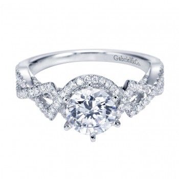 Gabriel Co 14K White Gold Criss Cross Halo Engagement Ring