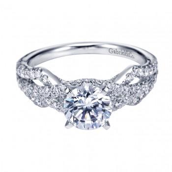 Gabriel Co 14K White Gold Round Split Shank Engagement Ring