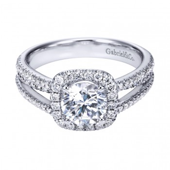 Gabriel Co 14K White Gold Contemporary Round Halo Engagement Ring
