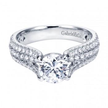 Gabriel Co 14K White Gold Contemporary Split Shank Engagement Ring