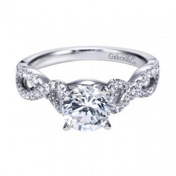 Gabriel Co 14K White Gold Criss Cross Engagement Ring