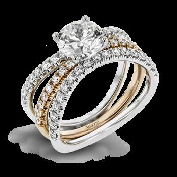 18K WHITE & ROSE GOLD, WITH WHITE DIAMONDS. LR1083 - WEDDING SET