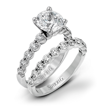 18K WHITE GOLD, WITH WHITE DIAMONDS. MR1907 - WEDDING SET