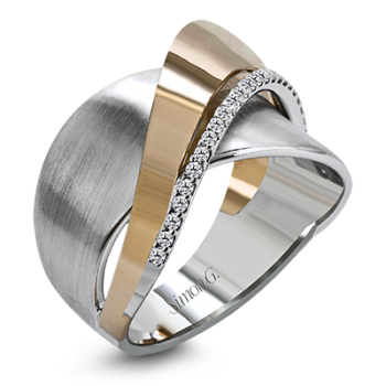 18K GOLD TWO TONE MR2681 RIGHT HAND RING