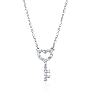 14K Petite Heart & Key Necklace