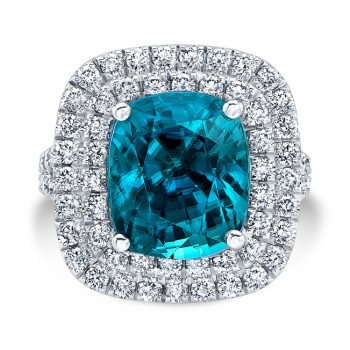 18K White Gold 7.72ct Cushion Shaped Blue Zircon Ring