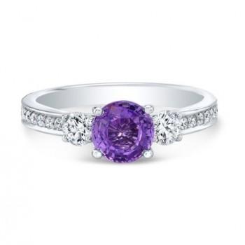 14K White Gold Round Purple Sapphire With 2 Round Diamond Ring