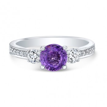 14K White Gold 1.30ct Round Cut Purple Sapphire Ring