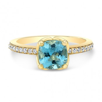 14K Yellow Gold 1.27ct Cushion Shaped Aquamarine Tulip Ring