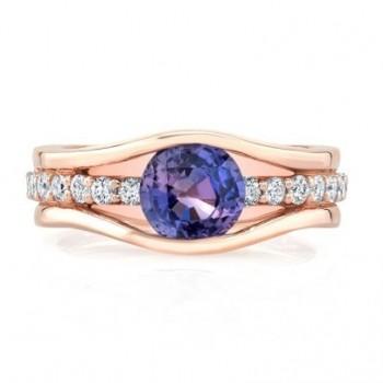 14K Rose Gold Violet Sapphire Semi-Bezel Ring