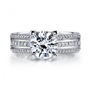 MARS Engagement Ring 0.78 Ct Pr, 0.40 Ct Rd.