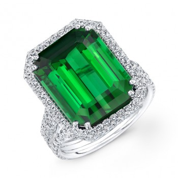 18K White Gold 10.17ct Emerald Cut Green Tourmaline-Indicolite Ring