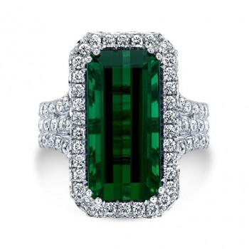 14K White Gold Green Tourmaline Halo Ring