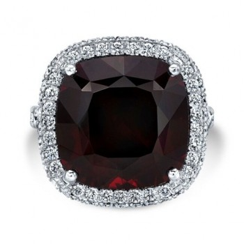 14K White Gold Red Garnet Halo Ring