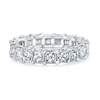 Platinum Radiant Cut Diamonds Floating Eternity Band